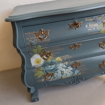 Buikkastje homestead blue met decor transfer fusion mineral paint Goed Gestyled brielle